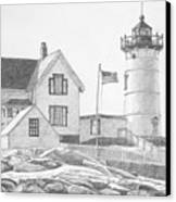 Cape Neddick Light House Drawing Canvas Print by Dominic White