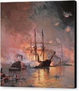 Capture Of New Orleans By Union Flag Officer David G Farragut Canvas Print by Julian Oliver Davidson