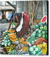 Caribbean Market Day Canvas Print by Karin  Dawn Kelshall- Best