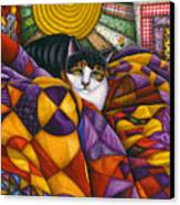 Cat In Quilts Canvas Print by Carol Wilson