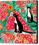 Cats And Roses Canvas Print by Sushila Burgess