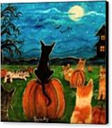 Cats In Pumpkin Patch Canvas Print by Paintings by Gretzky
