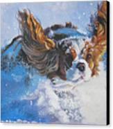Cavalier King Charles Spaniel Blenheim In Snow Canvas Print by Lee Ann Shepard