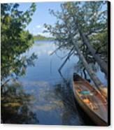 Cedar Strip Canoe And Cedars At Hanson Lake Canvas Print by Larry Ricker
