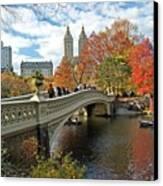 Central Park Autumn Cityscape Canvas Print by Allan Einhorn
