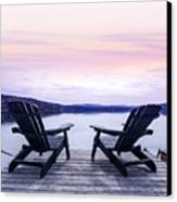 Chairs On Lake Dock Canvas Print by Elena Elisseeva