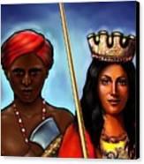 Chango And Saint Barbara Together Canvas Print by Carmen Cordova