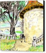Chapel On Estate River Canvas Print by Tilly Strauss