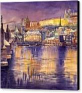 Charles Bridge And Prague Castle With The Vltava River Canvas Print by Yuriy  Shevchuk