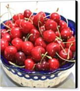 Cherries In Blue Bowl Canvas Print by Carol Groenen