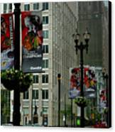 Chicago Blackhawk Flags Canvas Print by Ely Arsha