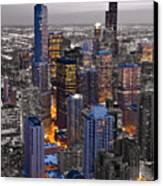 Chicago Loop Sundown Bw Color Blend Canvas Print by Steve Gadomski