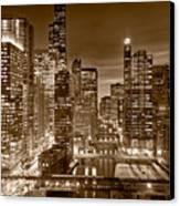 Chicago River City View B And W Canvas Print by Steve gadomski