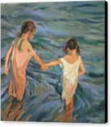 Children In The Sea Canvas Print by Joaquin Sorolla y Bastida