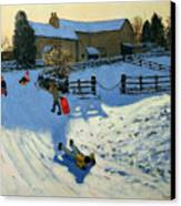 Children Sledging Canvas Print by Andrew Macara
