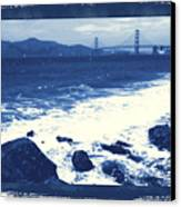 China Beach And Golden Gate Bridge With Blue Tones Canvas Print by Carol Groenen