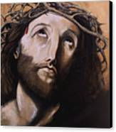 Christ With Crown Of Thorns Canvas Print by Laura Ury