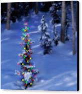 Christmas Tree In Snow Canvas Print by Utah Images