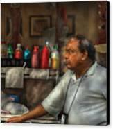 City - Ny - The Pretzel Vendor Canvas Print by Mike Savad