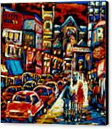 City At Night Downtown Montreal Canvas Print by Carole Spandau