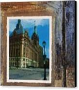 City Hall And Street Lamp Canvas Print by Anita Burgermeister