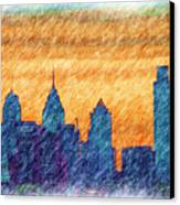 City In Pencil Canvas Print by Thomas  MacPherson Jr