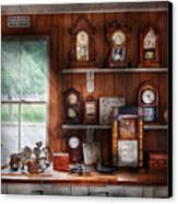 Clocksmith - In The Clock Repair Shop Canvas Print by Mike Savad