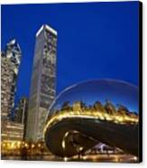 Cloud Gate The Bean Sculpture In Front Canvas Print by Axiom Photographic