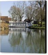 College Barge At Sandford Uk Canvas Print by Mike Lester