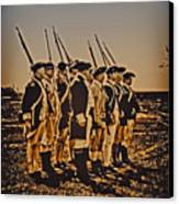 Colonial Soldiers On Parade Canvas Print by Bill Cannon