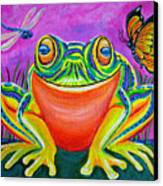 Colorful Smiling Frog-voodoo Frog Canvas Print by Nick Gustafson
