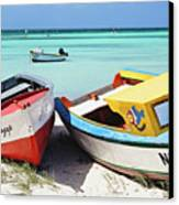 Colorful Traditional Fishing Boats Canvas Print by George Oze