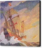 Columbus Crossing The Atlantic Canvas Print by Newell Convers Wyeth