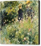 Conversation In A Rose Garden Canvas Print by Pierre Auguste Renoir