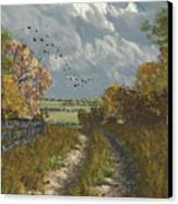 Country Lane In Fall Canvas Print by Jayne Wilson