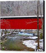 Covered Bridge Along The Wissahickon Creek Canvas Print by Bill Cannon