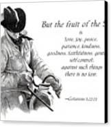 Cowboy With Fruit Of Spirit Scripture Canvas Print by Joyce Geleynse