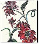 Crayon Flowers Canvas Print by Sarah Loft