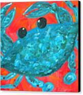 Crazy Blue Crab Canvas Print by JoAnn Wheeler