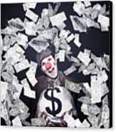 Crazy Clown Excited To Hold A Bag Of Money Canvas Print by Jorgo Photography - Wall Art Gallery