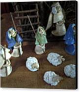 Creche Shepards And Sheep Canvas Print by Nancy Griswold