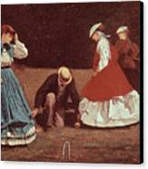 Croquet Scene Canvas Print by Winslow Homer