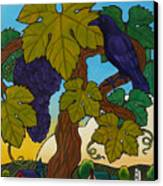 Crow With Wine On The Vine Canvas Print by Stacey Neumiller