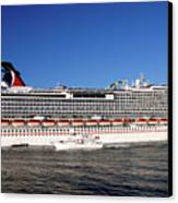 Cruise Ship Is Leaving The Port Canvas Print by Susanne Van Hulst