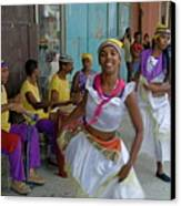 Cuban Band Los 4 Vientos And Dancers Entertaining People In The Street In Havana Canvas Print by Sami Sarkis