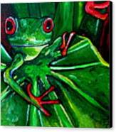 Curious Tree Frog Canvas Print by Patti Schermerhorn