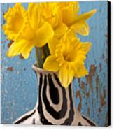 Daffodils In Wide Striped Vase Canvas Print by Garry Gay