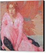 Dame En Rose Canvas Print by Edmond Francois Aman Jean