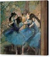 Dancers In Blue Canvas Print by Edgar Degas