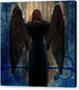 Dark Angel At Church Doors Canvas Print by Jill Battaglia